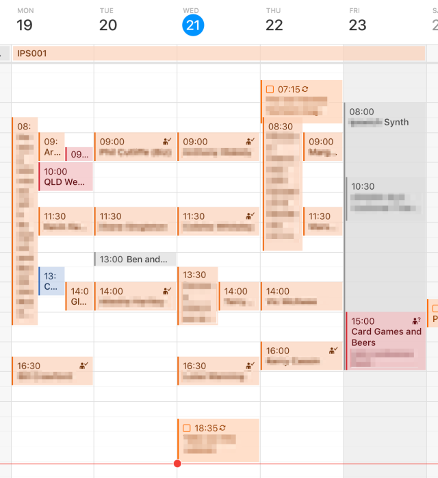 A screenshot from a calendar app showing multiple booking on each day of the week.